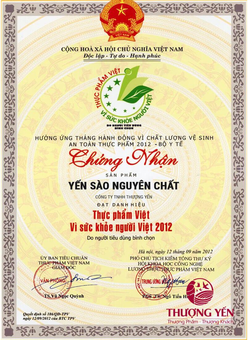Giấy chứng nhận thực phẩm Việt