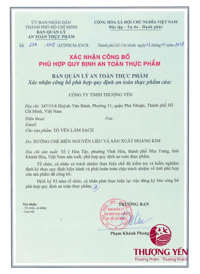 Xác nhận công bố phù hợp quy định an toàn thực phẩm yến sào thượng yến